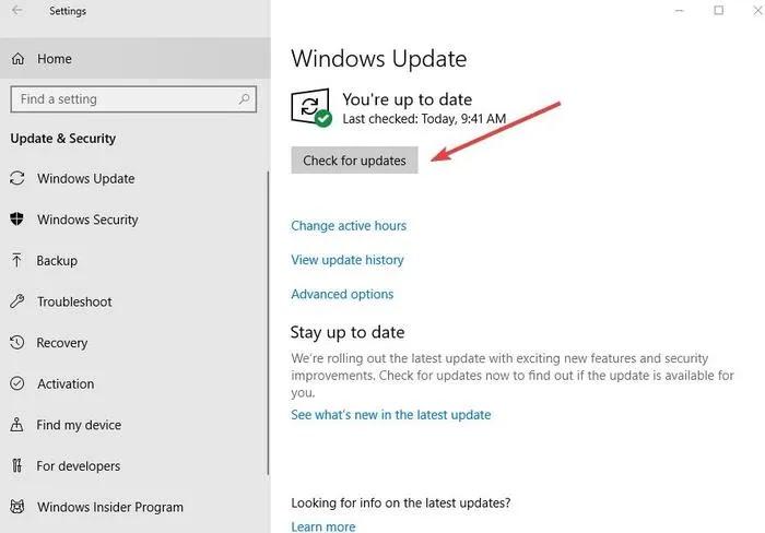 إصلاح النسخ واللصق لا يعمل ، تحديث إعدادات Windows والتحقق من الأمان من أجل التحديثات