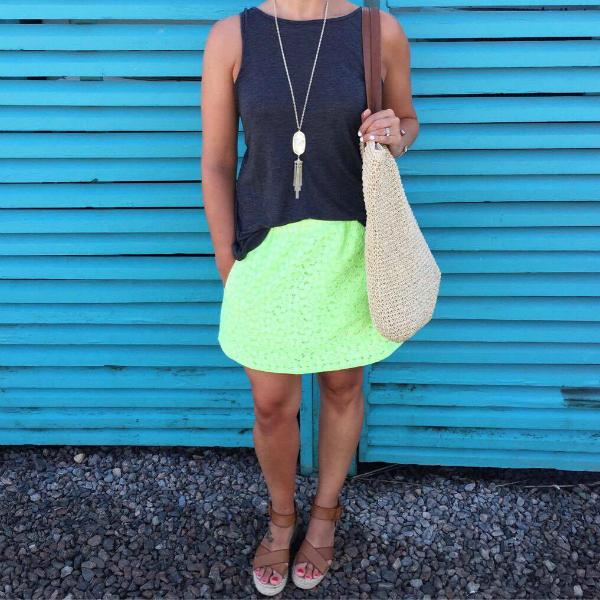 vacation style, neon skirt