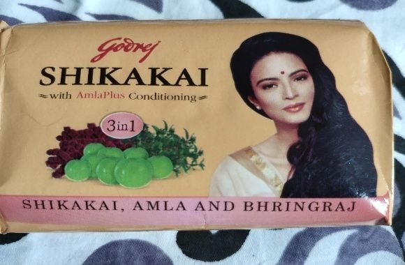 Godrej shikakai soap review - front side of the soap wrapper pic