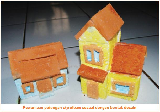 Gambar pewarnaan potongan styrofoam sesuai dengan bentuk desain