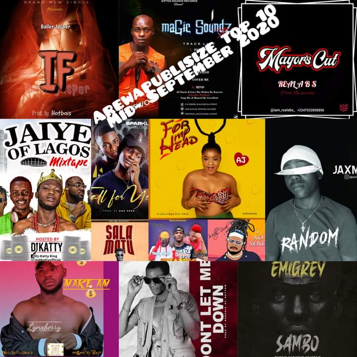 AREWAPUBLISIZE TOP 10 SONGS - MIDDLE SEPTEMBER - hosted by Hypeman Vizzy