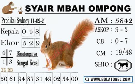 Syair Mbah Ompong SDY Sabtu 11-09-2021
