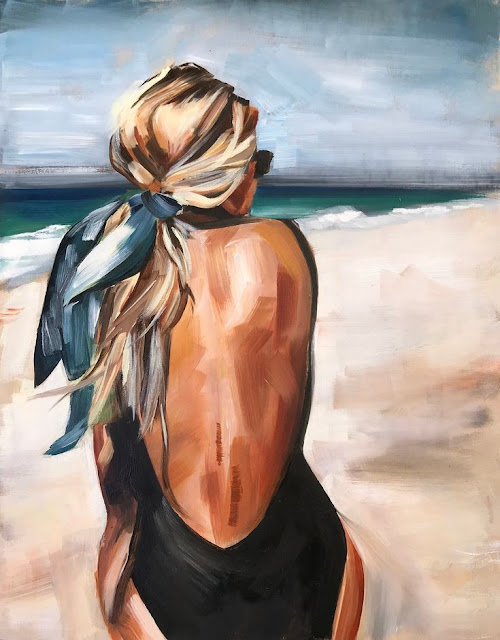 Salty Blonde Oil Print, oil painting beach fashion portrait