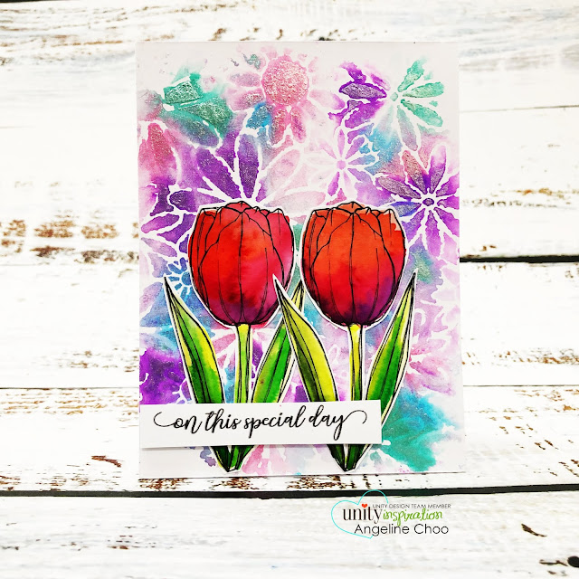 ScrappyScrappy: Unity Stamp & Graciellie Design Instagram Hop - Be Unstoppable #scrappyscrappy #unitystampco #youtube #cardmaking #card #stamping #quicktipvideo #papercraft #kenoliver #colorburst #liquidmetals #tcwstencil #thecraftersworkshop #tulips #pigmentpowders #gracielliedesign