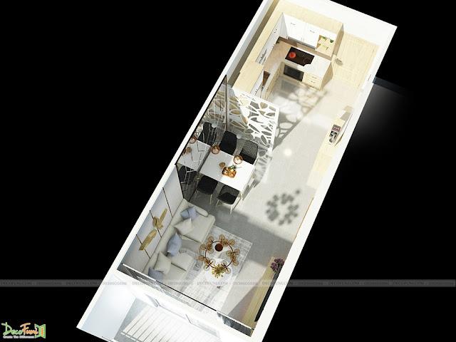 Hình tổng thể nhìn từ trên cao của phòng khách và phòng bếp chung cư 65m2