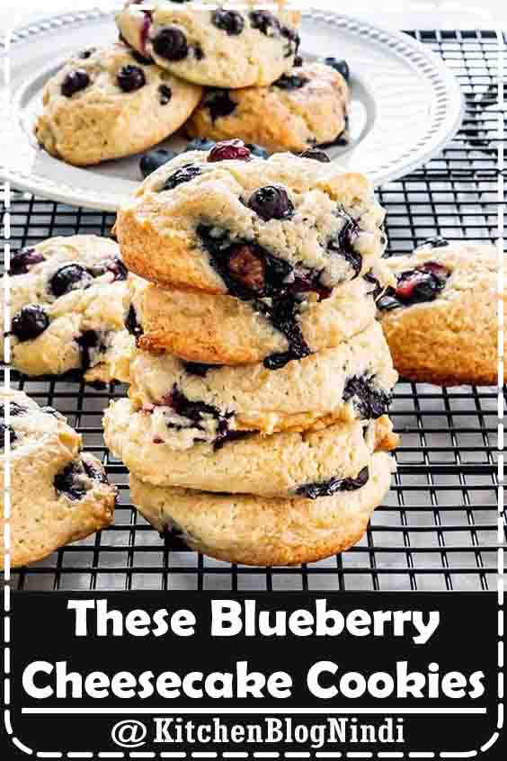 4.9★★★★★ | These Blueberry Cheesecake Cookies are soft, fluffy, almost cake-like, bursting with fresh blueberries, they're bound to become your new favorite cookies. I'm talking cheesecake and blueberries all in a cookie. What's not to love? #blueberries #cheesecake #cookies