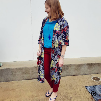 awayfromblue | Jeanswest mum style outfit melanie floral kimono vickie button tank harper russet skinny pant burgundy turquoise