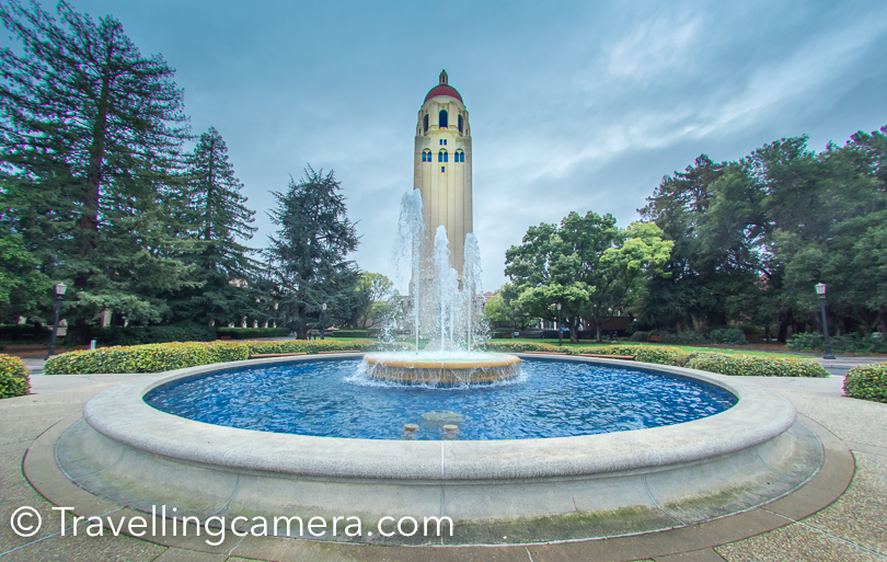 Here is a photograph of Hoover Tower around Main quad of Stanford University. This beautiful fountain made the frame more interesting in front of hoover tower.
