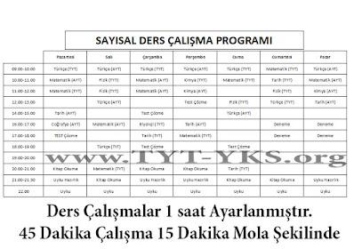 Sayısal Ders Çalışma Programı