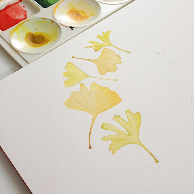 watercolor, process, gingko leaves, botanical watercolor, Anne Butera, My Giant Strawberry
