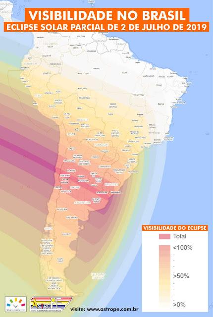 mapa visibilidade eclipse solar 2 julho de 2019 no brasil