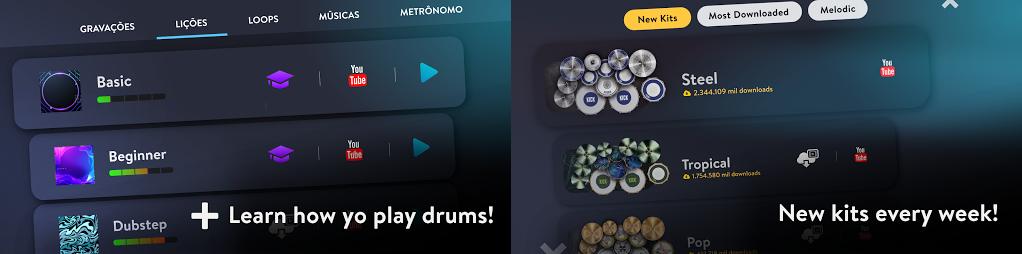 pilih mode lagu dan kit drum yang baru