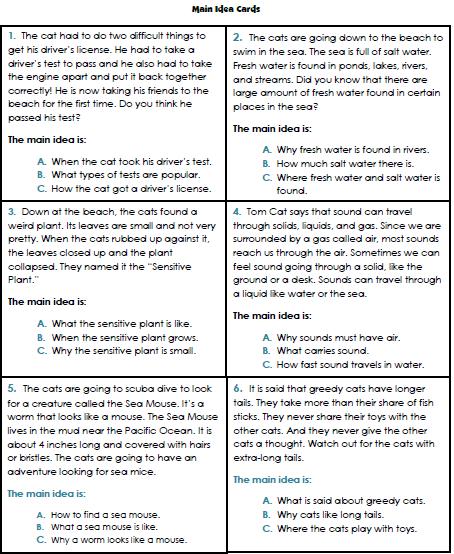 Teacher's Take-Out: Main Idea File Folder Game