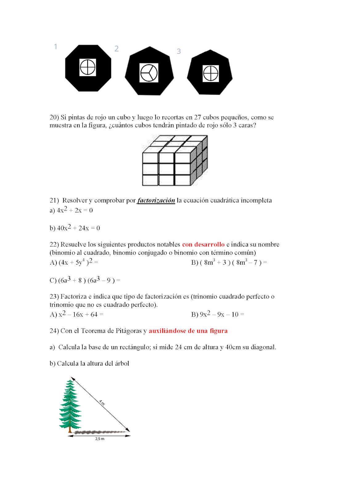 Tercero Matemáticas EST 47: TRABAJO PARA SUBIR PROMEDIO