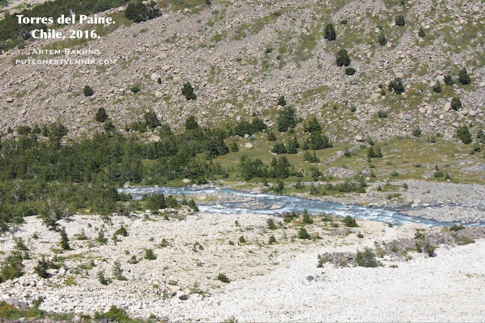 Горная река в Торрес-дель-Пайне