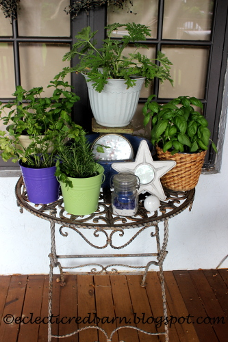 Eclectic Red Barn: My Little Herb Garden on the deck
