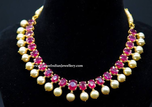 Single Line Ruby Necklace with Pearls