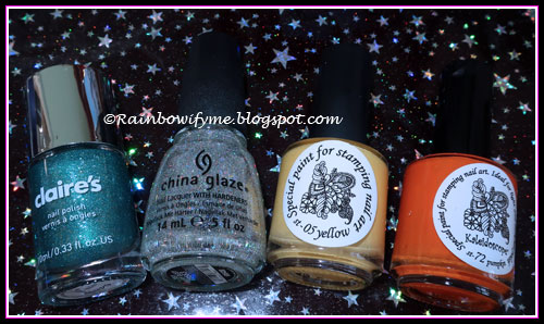 Claire's: Emerald; China Glaze: Fairy Dust; El Corazón stamping polishes: Yellow & Pumpkin