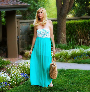 Aqua Lace Maxi Dress