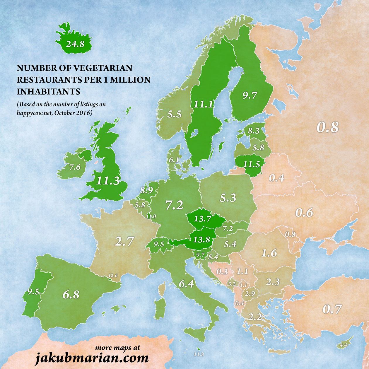 Number of vegetarian restaurants per 1,000,000 inhabitants