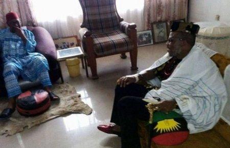 Nnamdi Kanu Visits Ex Aviation Minister Amaechi in Anambra [VIDEO]