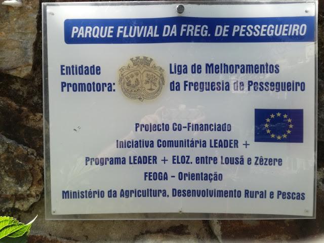 Placa Parque Fluvial da Freguesia de Pessegueiro