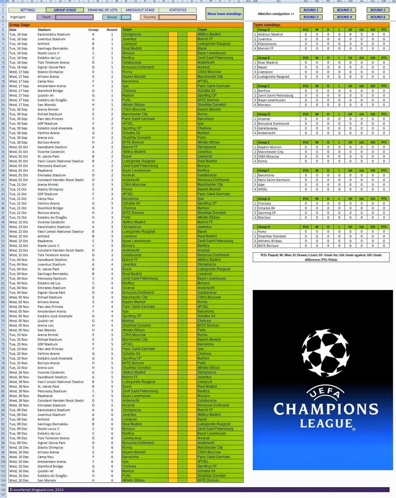 Excel Templates: 2014-15 UEFA Champions League schedule spreadsheet