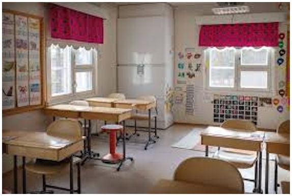 Kuva autiosta kouluokasta tyhjine pulpetteineen.