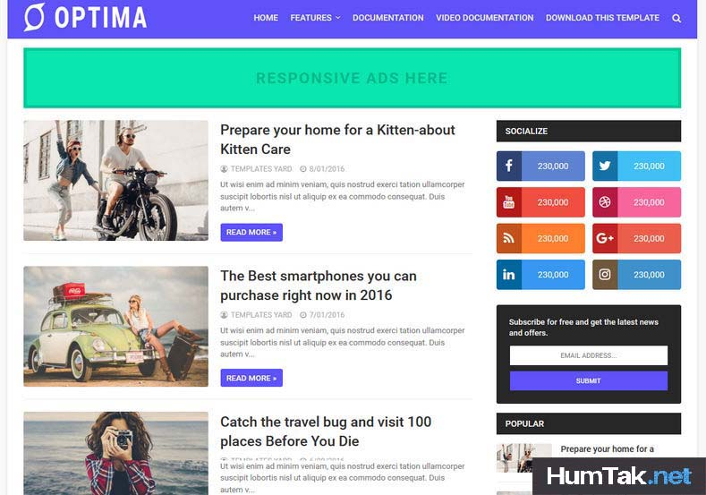 Optima Premium Mobile SEO Friendly Blogger Template free HumTak.net
