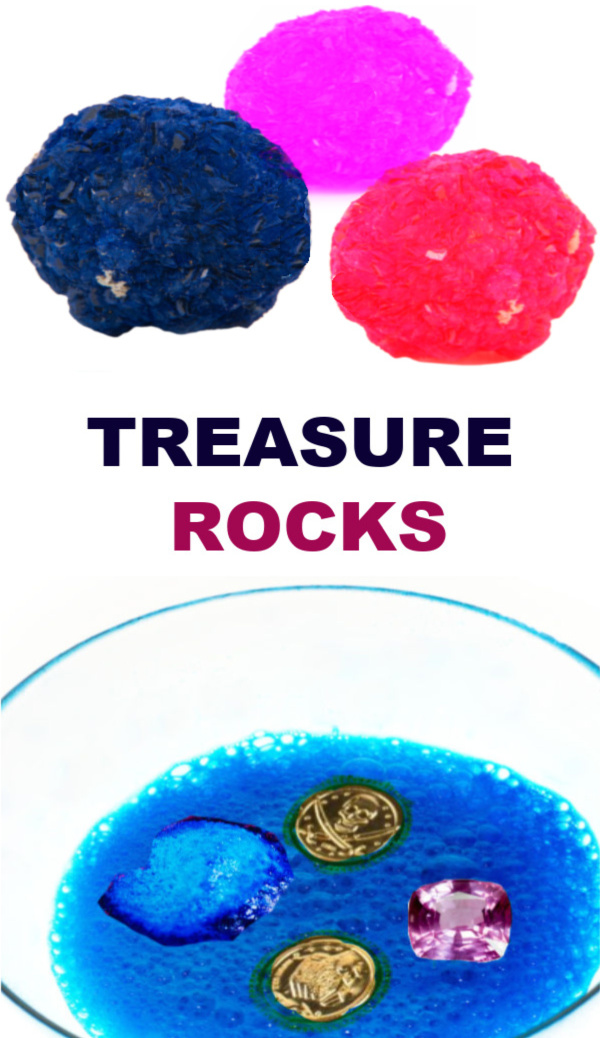 "Send kids on a hunt for ""magic treasure"" with this easy recipe for play! #treasurehunt #treasurerocks #magicrocks #fizzingrocks #growingajeweledrose #activitiesforkids"