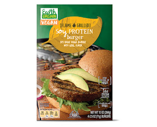 A stock image of Earth Grown Vegan Soy Protein Burgers, from Aldi