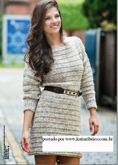 Vestido em tricô com receita e gráfico Coats Corrente - Katia Ribeiro  Crochê Moda e Decoração ca7f82f52e8