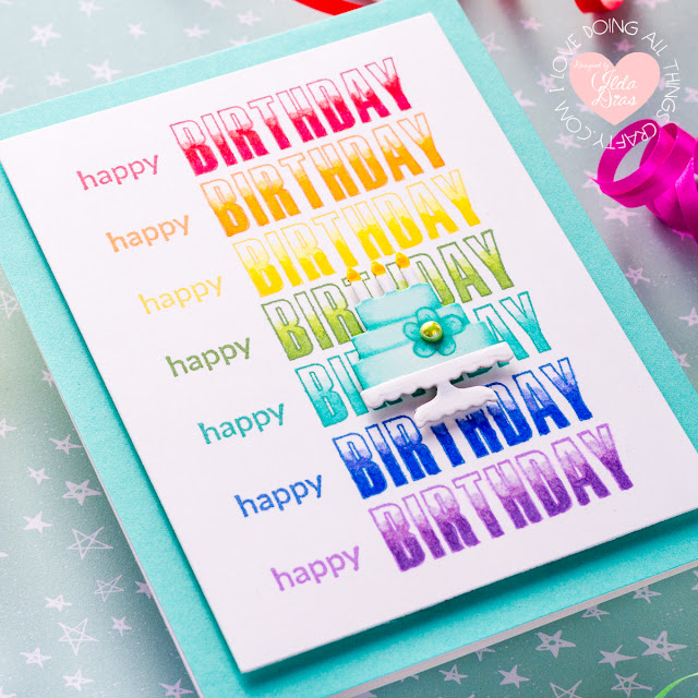 Repeat Stamping Rainbow Inspired Birthday Card | Spellbinders FSJ Stamp of the Month | March 2020
