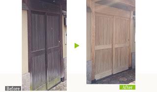カビ/日焼け汚れの数寄屋門を環境対応型特殊洗浄G-Eco工法で施工