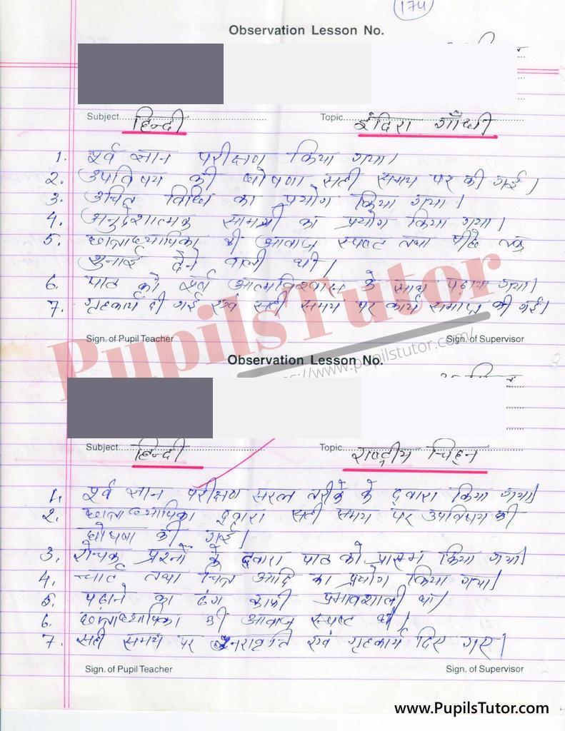 indira gandhi aur rastriya chinho par Lesson Plan in Hindi for BEd and DELED