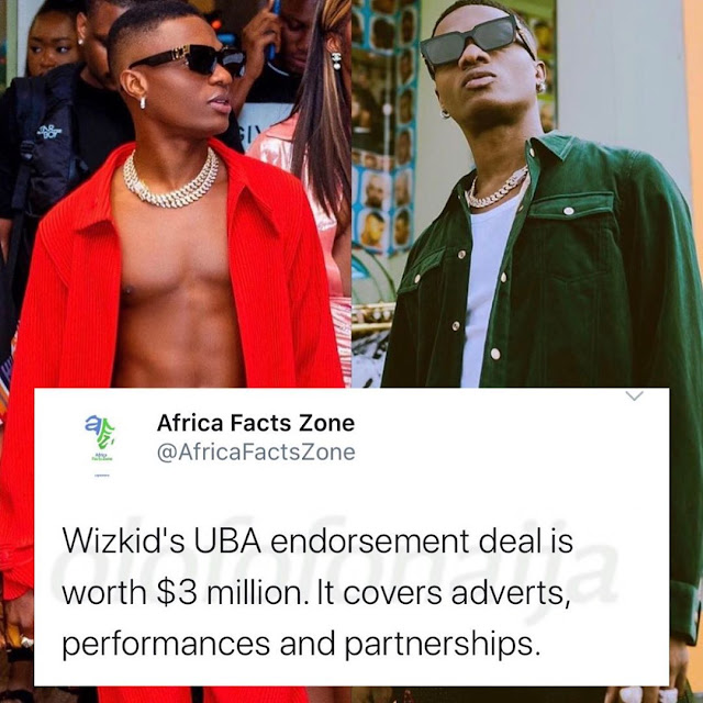 Revealed! Wizkid's UBA Endorsement Deal Is Worth Over 1 Billion Naira.