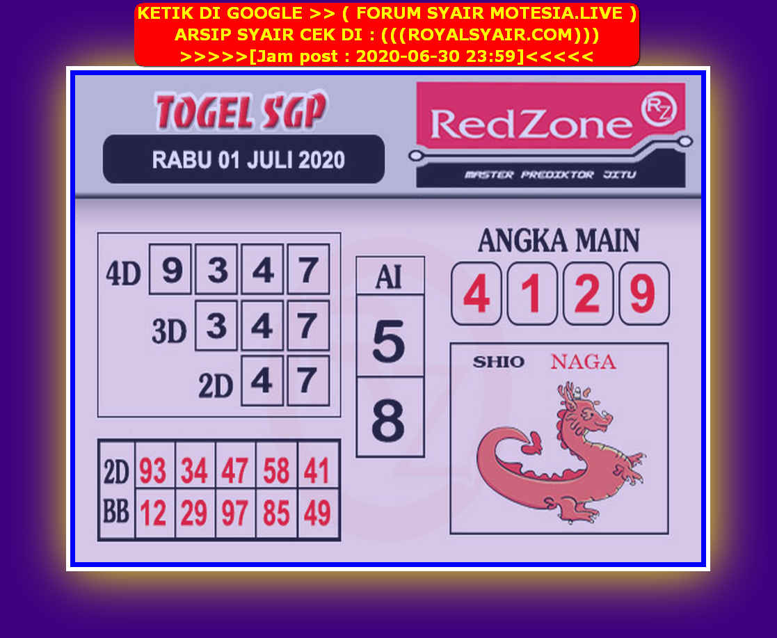 Kode syair Singapore Rabu 1 Juli 2020 243