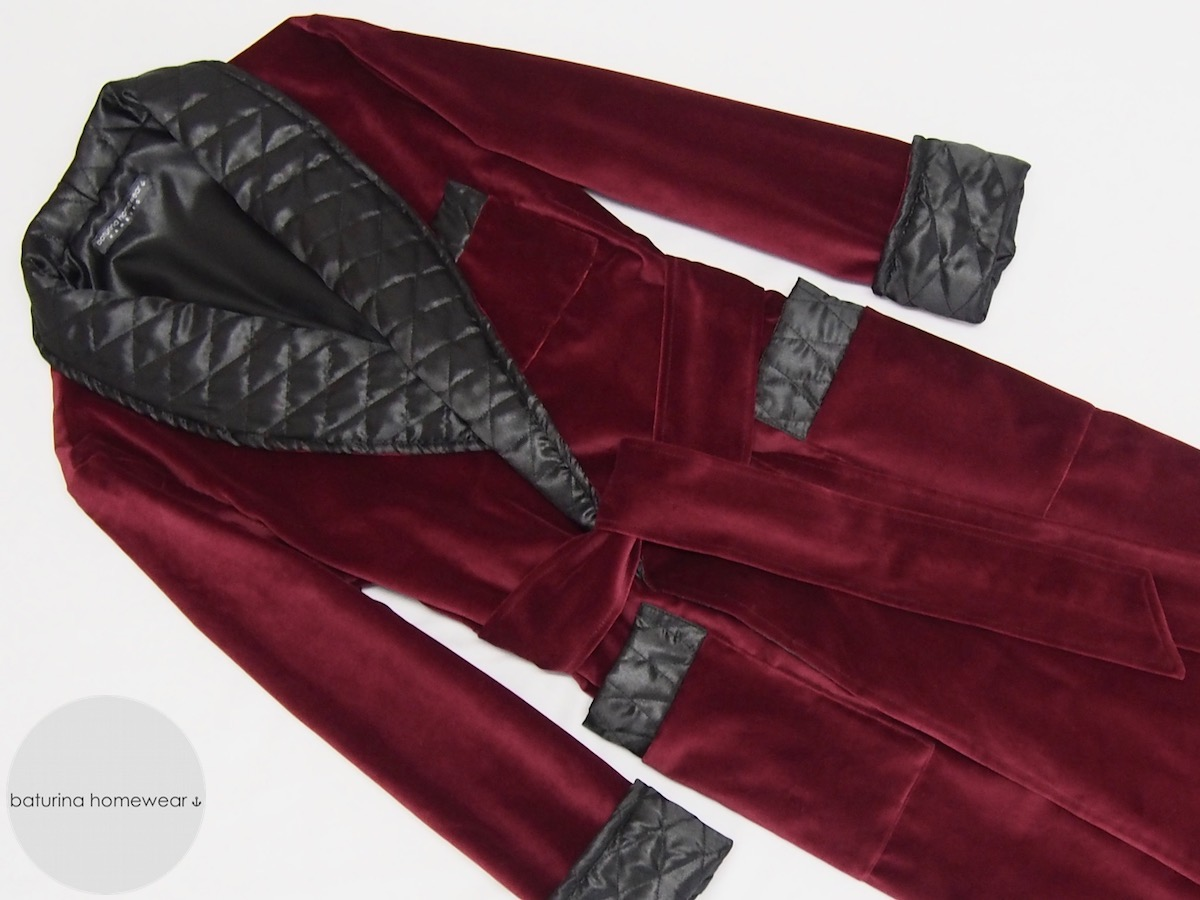 Men's Long Dressing Gowns In Red Velvet And Quilted Silk