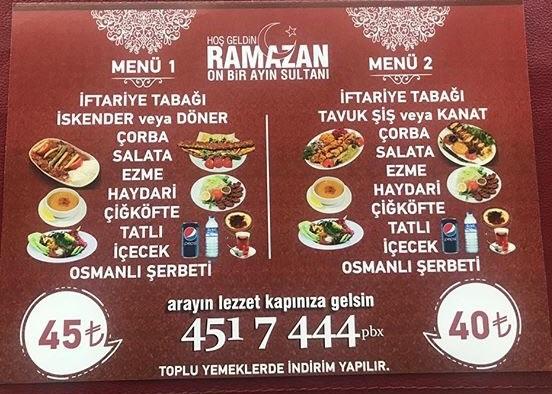 titizoğlu iskender kebap kartal istanbul ramazan 2019 iftar menü fiyat