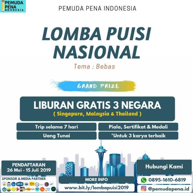 Lomba Menulis Puisi Nasional 2019 dari Pemudapena.id