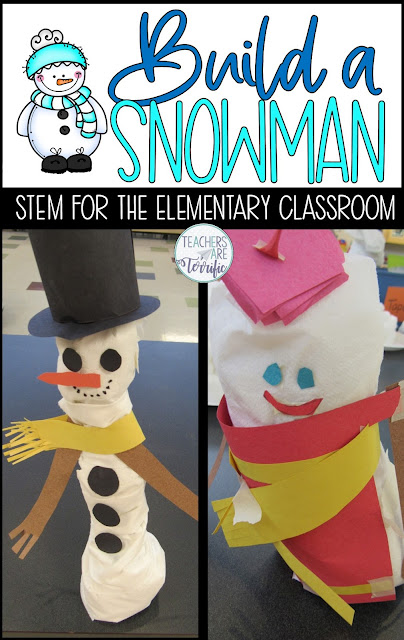 A STEM Challenge about building a snowman model. Keep your students engaged with fabulous winter STEM Challenges! #winter #STEM #elementary