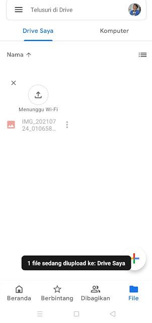 Peroses Upload File di Google Drive Lewat HP Selesai