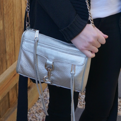 monochrome black outfit with Rebecca Minkoff metallic silver mini MAC | awayfromtheblue
