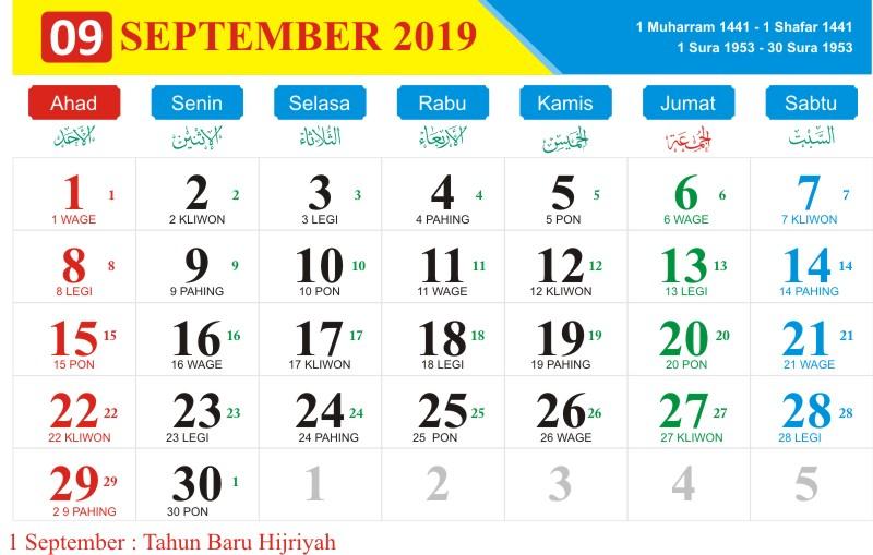Kalender jawa september 2019