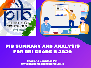 PIB Summary & Analysis for RBI Grade B 2020 from August (1-7th) PDF Download