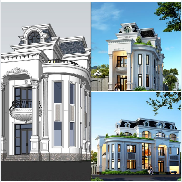 các góc render khác nhau của nhà phố kiểu cổ điển hai mặt tiền