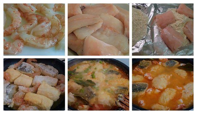 Como hacer pescadilla de pincho en salsa con gambones