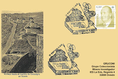 tarjeta, filatelia, matasellos, Centro Asturiano, El Quijote, La Mancha, Consuegra
