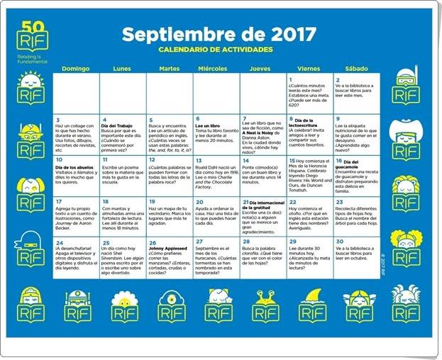 """""""Calendario de actividades de Septiembre de 2017"""" (Para trabajar la lectura a partir de 6 años)"""