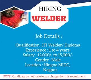 ITI and Diploma Jobs Vacancy For Welder Position in MNC Company Nagpur, Maharashtra